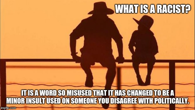 Cowboy Wisdom, words matter | WHAT IS A RACIST? IT IS A WORD SO MISUSED THAT IT HAS CHANGED TO BE A MINOR INSULT USED ON SOMEONE YOU DISAGREE WITH POLITICALLY. | image tagged in cowboy father and son,cowboy wisdom,what is a racist,bring a child up to think | made w/ Imgflip meme maker