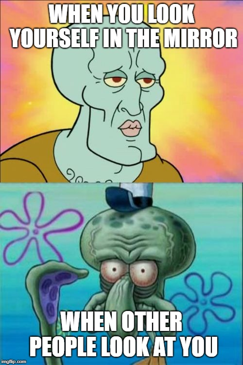 Squidward Meme | WHEN YOU LOOK YOURSELF IN THE MIRROR WHEN OTHER PEOPLE LOOK AT YOU | image tagged in memes,squidward | made w/ Imgflip meme maker
