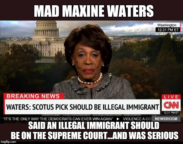 Mad Maxine Waters | MAD MAXINE WATERS SAID AN ILLEGAL IMMIGRANT SHOULD BE ON THE SUPREME COURT...AND WAS SERIOUS | image tagged in new,maxine waters,libtards | made w/ Imgflip meme maker