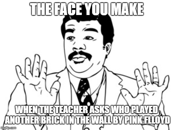 i turned on another brick in the wall by pink floyd and never got caught | THE FACE YOU MAKE WHEN THE TEACHER ASKS WHO PLAYED ANOTHER BRICK IN THE WALL BY PINK FLLOYD | image tagged in memes,neil degrasse tyson,another brick in the wall | made w/ Imgflip meme maker
