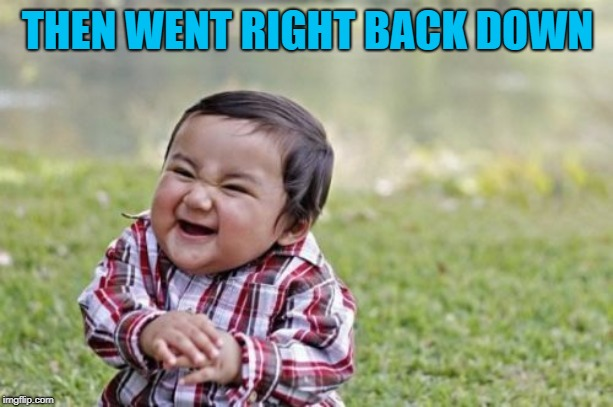 Evil Toddler Meme | THEN WENT RIGHT BACK DOWN | image tagged in memes,evil toddler | made w/ Imgflip meme maker