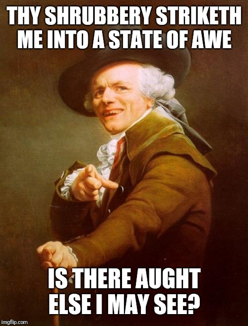 Joseph Ducreux Meme | THY SHRUBBERY STRIKETH ME INTO A STATE OF AWE IS THERE AUGHT ELSE I MAY SEE? | image tagged in memes,joseph ducreux | made w/ Imgflip meme maker