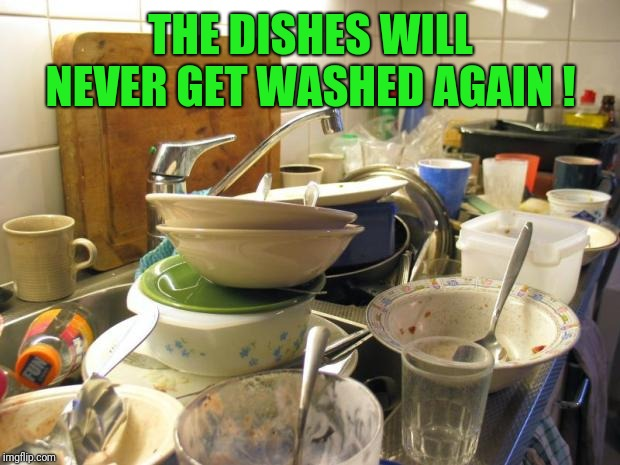dirty dishes | THE DISHES WILL NEVER GET WASHED AGAIN ! | image tagged in dirty dishes | made w/ Imgflip meme maker