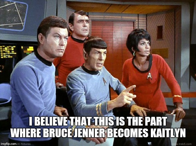 I BELIEVE THAT THIS IS THE PART WHERE BRUCE JENNER BECOMES KAITLYN | image tagged in spock  the gang | made w/ Imgflip meme maker