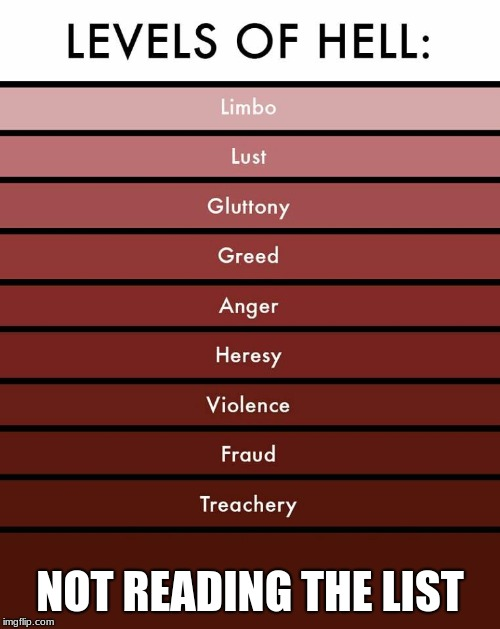 Levels of hell | NOT READING THE LIST | image tagged in levels of hell | made w/ Imgflip meme maker