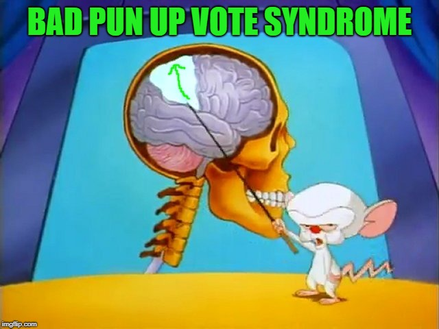 the brain | BAD PUN UP VOTE SYNDROME | image tagged in the brain | made w/ Imgflip meme maker