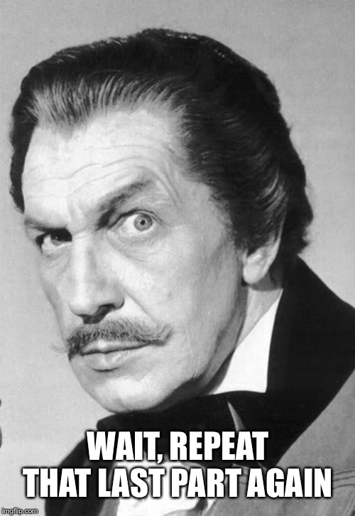 Vincent Price | WAIT, REPEAT THAT LAST PART AGAIN | image tagged in vincent price | made w/ Imgflip meme maker