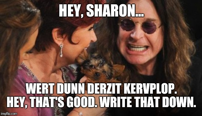 Selfish Ozzy |  HEY, SHARON... WERT DUNN DERZIT KERVPLOP. HEY, THAT'S GOOD. WRITE THAT DOWN. | image tagged in memes,selfish ozzy | made w/ Imgflip meme maker