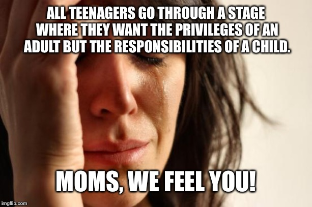 First World Problems | ALL TEENAGERS GO THROUGH A STAGE WHERE THEY WANT THE PRIVILEGES OF AN ADULT BUT THE RESPONSIBILITIES OF A CHILD. MOMS, WE FEEL YOU! | image tagged in memes,parenting,moms,teenagers,stressed out | made w/ Imgflip meme maker