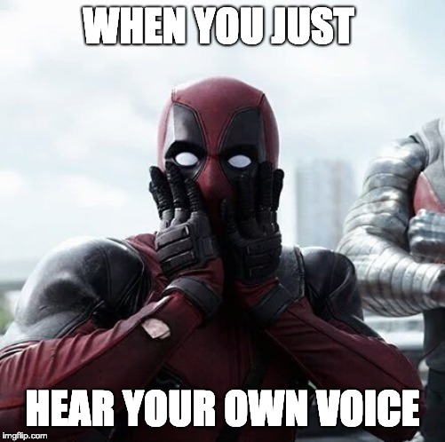 Deadpool Surprised Meme |  WHEN YOU JUST; HEAR YOUR OWN VOICE | image tagged in memes,deadpool surprised | made w/ Imgflip meme maker