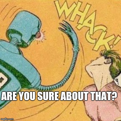 Robot slaps human | ARE YOU SURE ABOUT THAT? | image tagged in robot slaps human | made w/ Imgflip meme maker