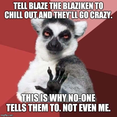 Never. Ever. Tell me. To chill out.  | TELL BLAZE THE BLAZIKEN TO CHILL OUT AND THEY'LL GO CRAZY. THIS IS WHY NO-ONE TELLS THEM TO. NOT EVEN ME. | image tagged in memes,chill out lemur,blaze the blaziken,insanity | made w/ Imgflip meme maker