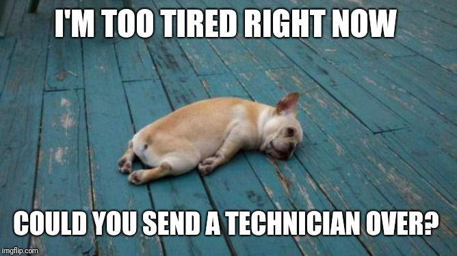 tired dog | I'M TOO TIRED RIGHT NOW COULD YOU SEND A TECHNICIAN OVER? | image tagged in tired dog | made w/ Imgflip meme maker