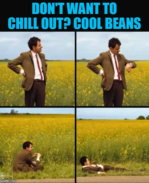 Mr bean waiting | DON'T WANT TO CHILL OUT? COOL BEANS | image tagged in mr bean waiting | made w/ Imgflip meme maker
