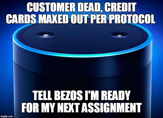Alexa | CUSTOMER DEAD, CREDIT CARDS MAXED OUT PER PROTOCOL TELL BEZOS I'M READY FOR MY NEXT ASSIGNMENT | image tagged in alexa | made w/ Imgflip meme maker
