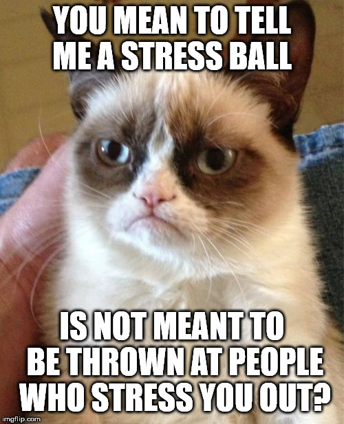 Grumpy Cat Meme | YOU MEAN TO TELL ME A STRESS BALL IS NOT MEANT TO BE THROWN AT PEOPLE WHO STRESS YOU OUT? | image tagged in memes,grumpy cat | made w/ Imgflip meme maker