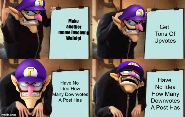 Waluigi's Plan | Make another meme involving Waluigi Get Tons Of Upvotes Have No Idea How Many Downvotes A Post Has Have No Idea How Many Downvotes A Post Ha | image tagged in gru's plan,waluigi | made w/ Imgflip meme maker