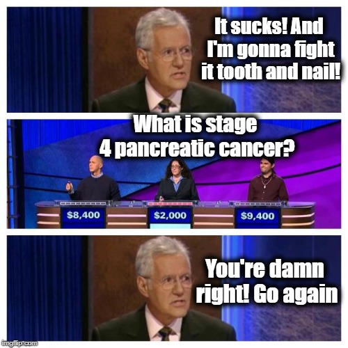 Prayers sent for Alex Trebek. You got this, sir! | It sucks! And I'm gonna fight it tooth and nail! What is stage 4 pancreatic cancer? You're damn right! Go again | image tagged in jeopardy,sad,cancer sucks | made w/ Imgflip meme maker