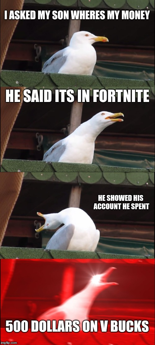 Inhaling Seagull | I ASKED MY SON WHERES MY MONEY HE SAID ITS IN FORTNITE HE SHOWED HIS ACCOUNT HE SPENT 500 DOLLARS ON V BUCKS | image tagged in memes,inhaling seagull | made w/ Imgflip meme maker