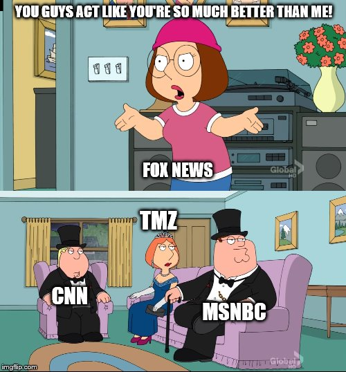 Fox News is considered FAKE NEWS | YOU GUYS ACT LIKE YOU'RE SO MUCH BETTER THAN ME! FOX NEWS CNN TMZ MSNBC | image tagged in meg family guy better than me,fox news,cnn,tmz,msnbc,fake news | made w/ Imgflip meme maker