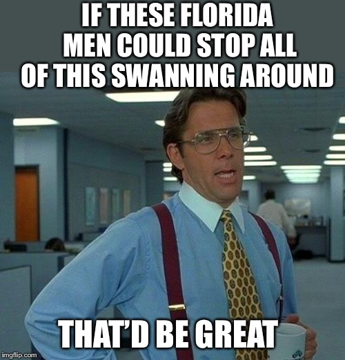 That Would Be Great Meme | IF THESE FLORIDA MEN COULD STOP ALL OF THIS SWANNING AROUND THAT'D BE GREAT | image tagged in memes,that would be great | made w/ Imgflip meme maker