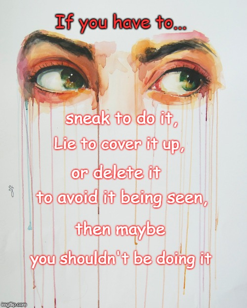 If you have to... sneak to do it, Lie to cover it up, or delete it then maybe to avoid it being seen, you shouldn't be doing it | image tagged in lies,sneaky,liar,dishonest,fool | made w/ Imgflip meme maker
