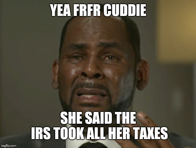Tax season gone wrong | YEA FRFR CUDDIE SHE SAID THE IRS TOOK ALL HER TAXES | image tagged in income taxes | made w/ Imgflip meme maker