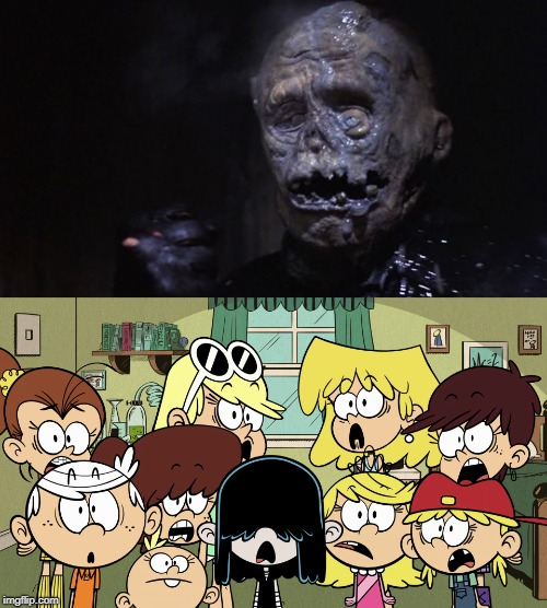 Loud siblings horrified at Jason's face | image tagged in the loud house,friday the 13th,jason voorhees | made w/ Imgflip meme maker