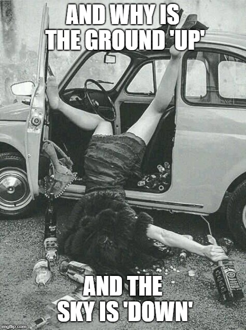 Drunk Girl  | AND WHY IS THE GROUND 'UP' AND THE SKY IS 'DOWN' | image tagged in drunk girl | made w/ Imgflip meme maker