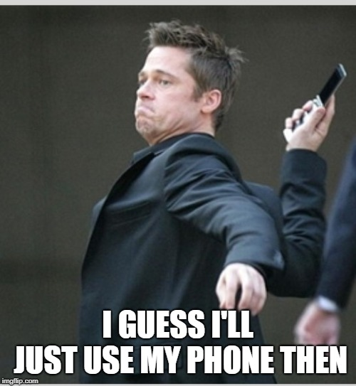 Brad Pitt throwing phone | I GUESS I'LL JUST USE MY PHONE THEN | image tagged in brad pitt throwing phone | made w/ Imgflip meme maker