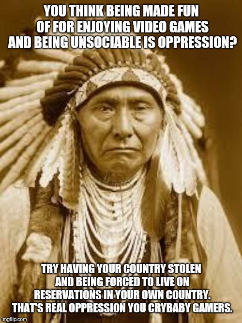 Real oppression | YOU THINK BEING MADE FUN OF FOR ENJOYING VIDEO GAMES AND BEING UNSOCIABLE IS OPPRESSION? TRY HAVING YOUR COUNTRY STOLEN AND BEING FORCED TO  | image tagged in native american,gamers rise up,memes | made w/ Imgflip meme maker