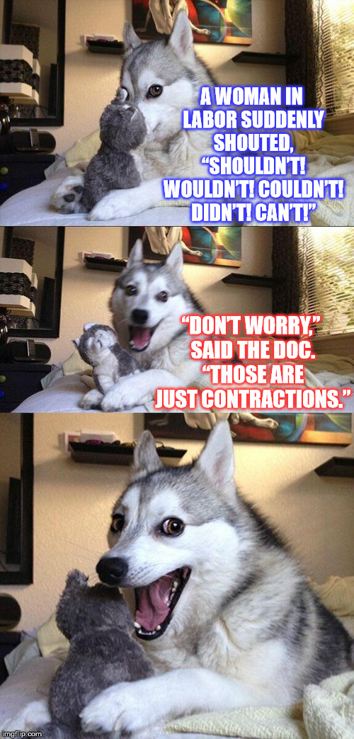 "PUN-ctuation and grammar issues ;) | A WOMAN IN LABOR SUDDENLY SHOUTED, ""SHOULDN'T! WOULDN'T! COULDN'T! DIDN'T! CAN'T!"" ""DON'T WORRY,"" SAID THE DOC. ""THOSE ARE JUST CONTRACTIONS 