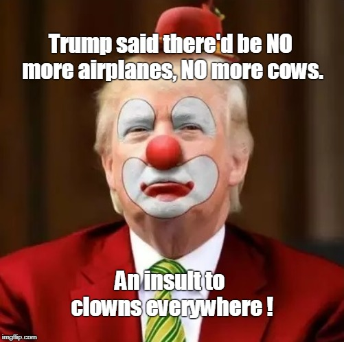 Donald Trump Clown |  Trump said there'd be NO more airplanes, NO more cows. An insult to clowns everywhere ! | image tagged in donald trump clown | made w/ Imgflip meme maker
