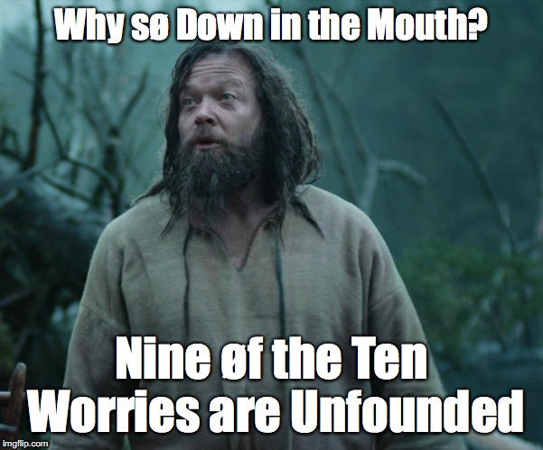Down in the Mouth | Why sø Down in the Mouth? Nine øf the Ten Worries are Unfounded | image tagged in vikings | made w/ Imgflip meme maker