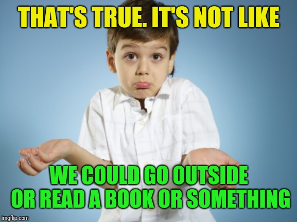 THAT'S TRUE. IT'S NOT LIKE WE COULD GO OUTSIDE OR READ A BOOK OR SOMETHING | made w/ Imgflip meme maker