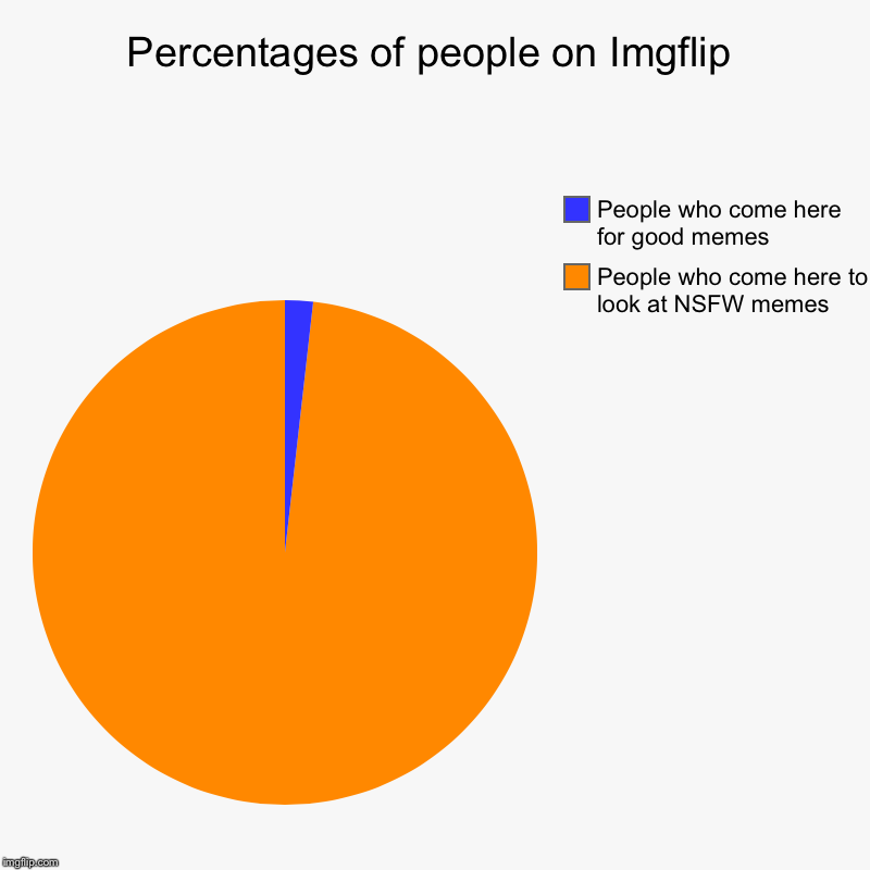 Percentages of people on Imgflip | People who come here to look at NSFW memes, People who come here for good memes | image tagged in charts,pie charts | made w/ Imgflip chart maker