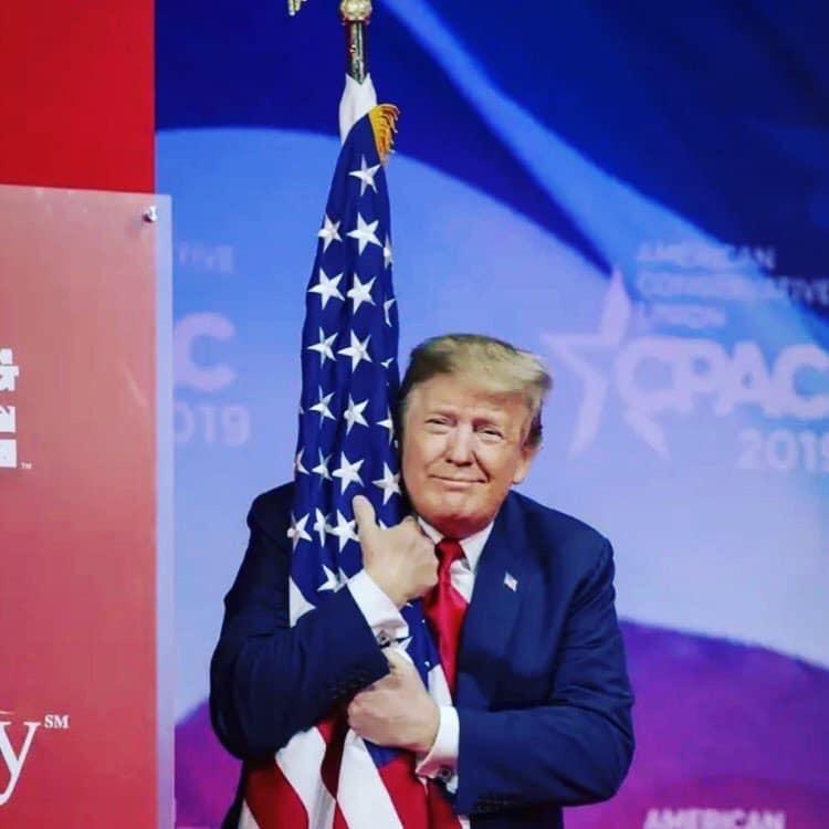 President Donald Trump Hugging Usa Flag Blank Template Imgflip