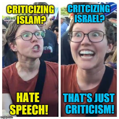 Social Justice Warrior Hypocrisy | CRITICIZING ISLAM? HATE SPEECH! CRITCIZING ISRAEL? THAT'S JUST CRITICISM! | image tagged in social justice warrior hypocrisy | made w/ Imgflip meme maker