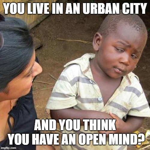 Rural Skeptical Kid | YOU LIVE IN AN URBAN CITY AND YOU THINK YOU HAVE AN OPEN MIND? | image tagged in bigotry,new york city,los angeles,seattle,third world skeptical kid,funny memes | made w/ Imgflip meme maker