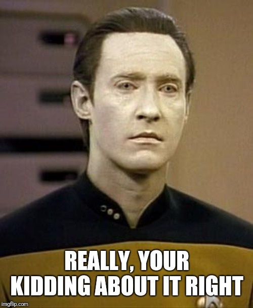 Data | REALLY, YOUR KIDDING ABOUT IT RIGHT | image tagged in data | made w/ Imgflip meme maker