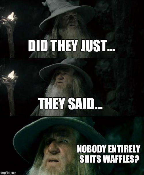 Confused Gandalf Meme | DID THEY JUST... THEY SAID... NOBODY ENTIRELY SHITS WAFFLES? | image tagged in memes,confused gandalf | made w/ Imgflip meme maker