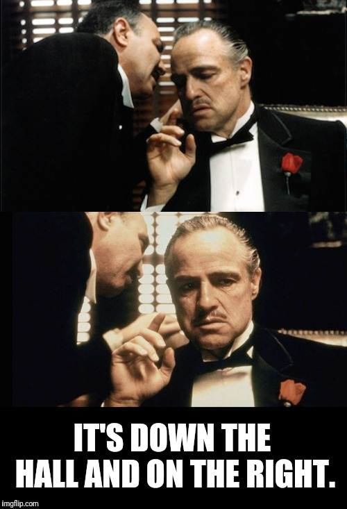 Giving Directions | IT'S DOWN THE HALL AND ON THE RIGHT. | image tagged in the godfather,bathroom,peeing | made w/ Imgflip meme maker