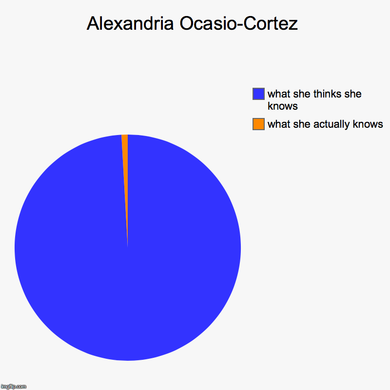 Alexandria Ocasio-Cortez | what she actually knows, what she thinks she knows | image tagged in charts,pie charts | made w/ Imgflip chart maker