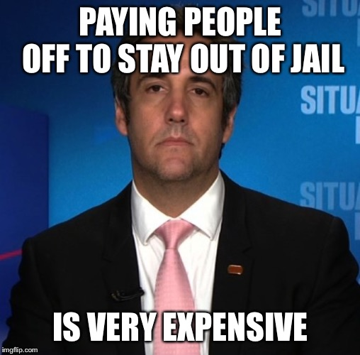 michael cohen | PAYING PEOPLE OFF TO STAY OUT OF JAIL IS VERY EXPENSIVE | image tagged in michael cohen | made w/ Imgflip meme maker