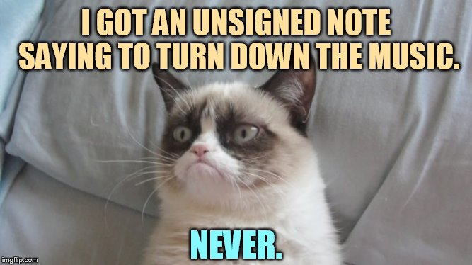 Where Do These People Come From? | I GOT AN UNSIGNED NOTE SAYING TO TURN DOWN THE MUSIC. NEVER. | image tagged in memes,grumpy cat,turn,down,music,never | made w/ Imgflip meme maker