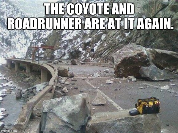 Almost had him |  THE COYOTE AND ROADRUNNER ARE AT IT AGAIN. | image tagged in the roadrunner and the coyote are at it again,beep beep,roadrunner | made w/ Imgflip meme maker