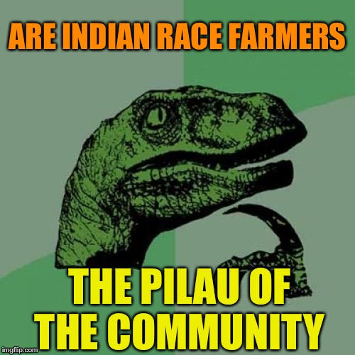 The rice pot is at home on the range. | ARE INDIAN RACE FARMERS THE PILAU OF THE COMMUNITY | image tagged in memes,philosoraptor,pilau rice,farmer | made w/ Imgflip meme maker
