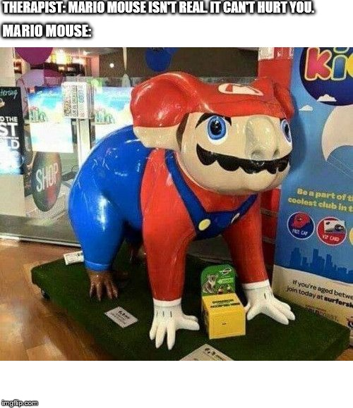 THERAPIST: MARIO MOUSE ISN'T REAL. IT CAN'T HURT YOU. MARIO MOUSE: | image tagged in therapist,mario mouse | made w/ Imgflip meme maker
