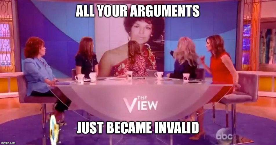 ALL YOUR ARGUMENTS JUST BECAME INVALID | image tagged in best moment on the view | made w/ Imgflip meme maker