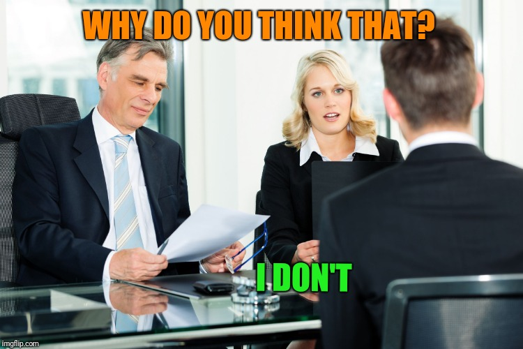 job interview | WHY DO YOU THINK THAT? I DON'T | image tagged in job interview | made w/ Imgflip meme maker